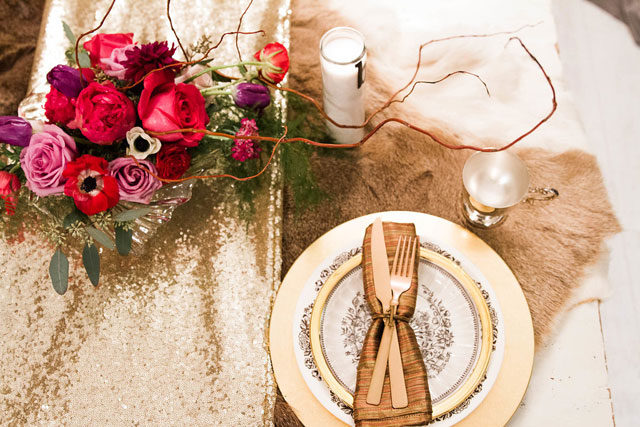 An urban watercolor elopement styled shoot with a palette of gold, pink, red and black, and a beautiful beaded gown by Allie & John Photography