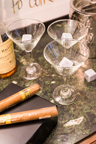 A styled bridal shower inspired by the bride that doesn't want a traditional shower featuring a cigar and whiskey bar and sexy menswear   Amber Wilkie Photography: http://www.amberwilkie.com   Simply Breathe Events: http://www.simplybreatheevents.com