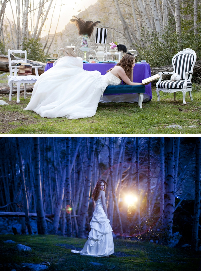A whimsical Alice in Wonderland-styled bridal shoot by Alyssa Marie Photography || see more on blog.nearlynewlywed.com