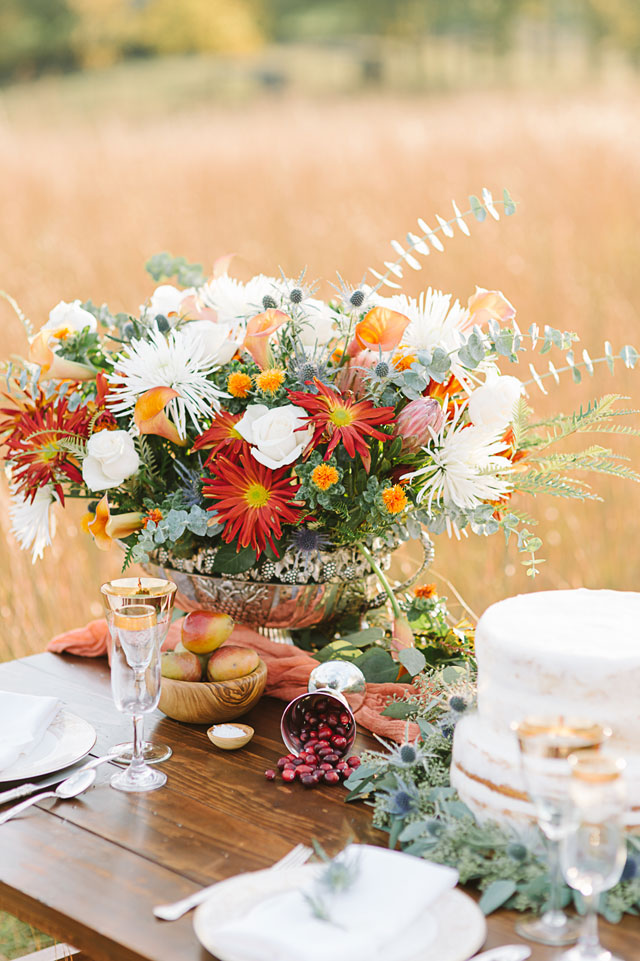 A golden autumn tablescape design with rustic elements and fall fruits in a beautiful field at sunset by Aperture Vision Photography