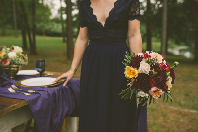 A richly hued zodiac wedding styled shoot in navy blue and gold | April and Paul: http://www.aprilandpaul.com | Lovegood Wedding & Event Rentals: http://www.lovegoodweddings.com