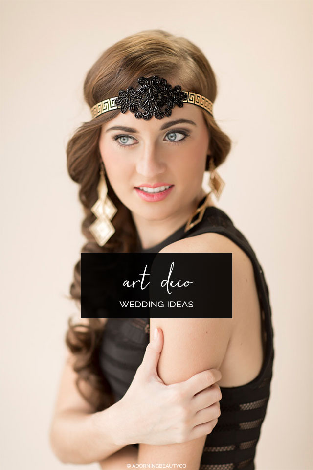 Black Art Deco Headband by AdorningBeautyCo on Etsy | Ideas for a Glam Art Deco Wedding
