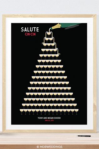 Champagne Glass Tower Wedding Guest Book Alternative by MDBWeddings on Etsy | Ideas for a Glam Art Deco Wedding