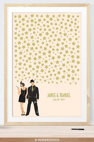 1920s Inspired Wedding Guest Book Alternative by MDBWeddings on Etsy | Ideas for a Glam Art Deco Wedding