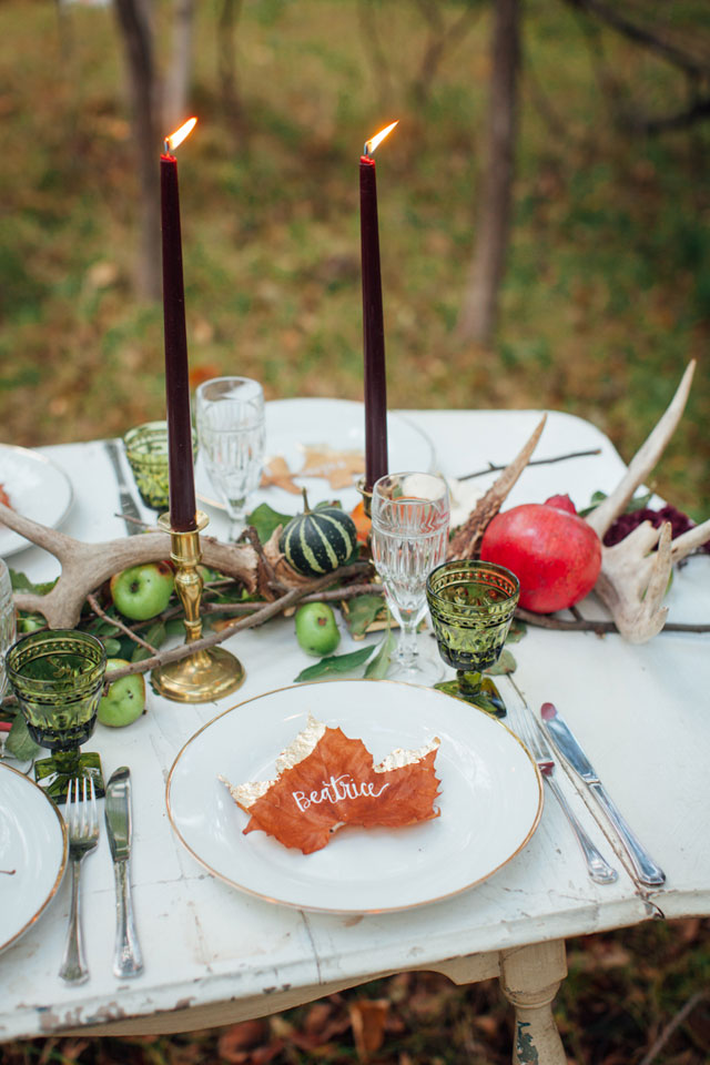 A moody and dark forest wedding inspiration shoot in black, red and gold with seasonal elements   Artemis Photography: http://www.artemis-portraits.com