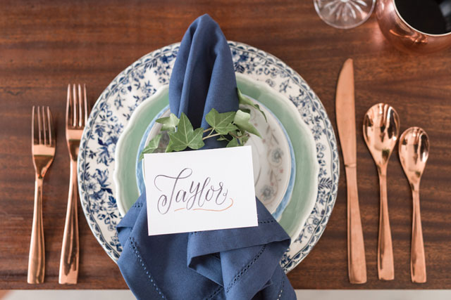 An airy and romantic copper and blue Southern wedding inspiration shoot by Audrey Rose Photography