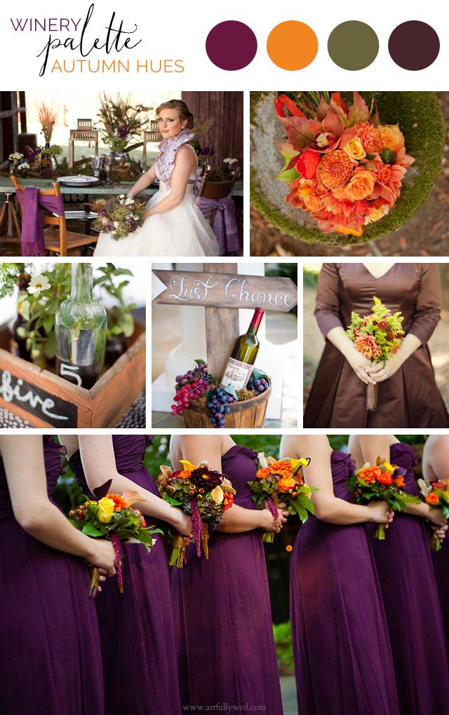 Artful Palette: Autumn Winery Wedding Ideas in Aubergine, Pumpkin, Balsam and Chocolate