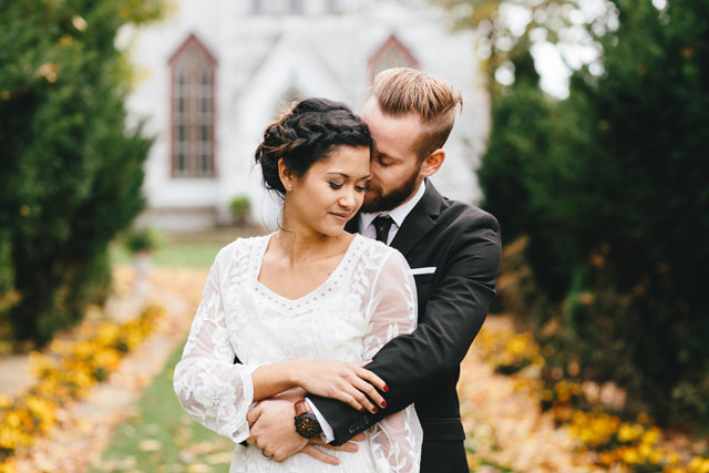 A romantic autumn wooded wedding inspiration shoot with vintage details by Bear & Sparrow Photography