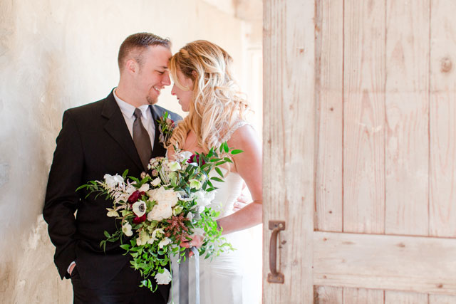A modern barn wedding inspiration shoot with light and airy details and a palette of blush, white, gray and cream by Bethanne Arthur Photography