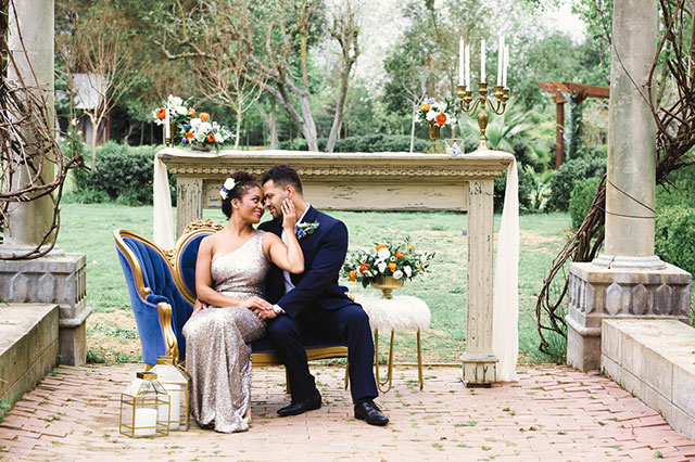 A timeless styled elopement inspiration at Deer Creek featuring a rich royal blue palette accented by gold and blush by Bloom Photography and Tan Weddings & Events