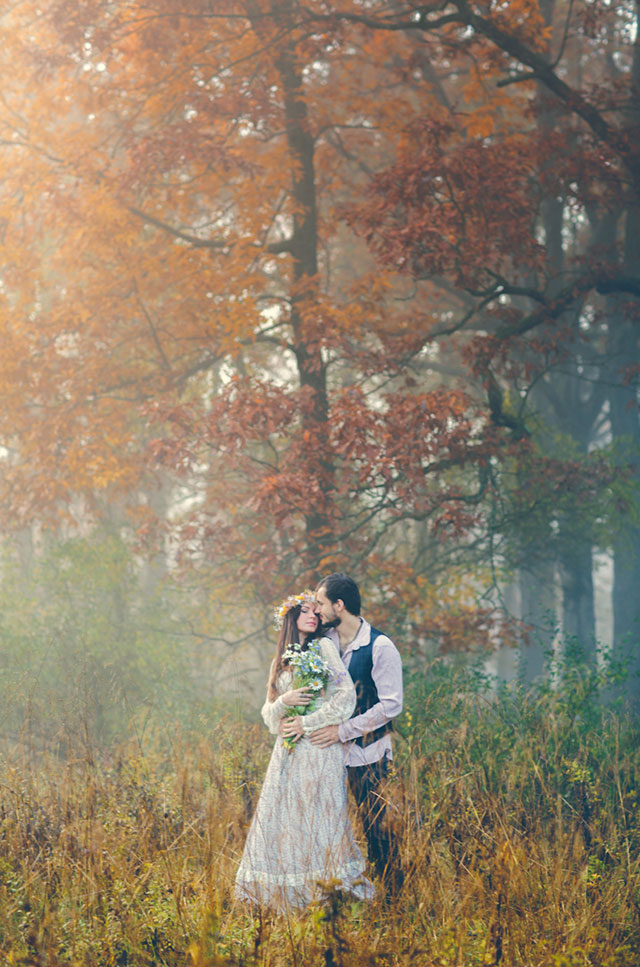 A beautiful fine art photography love shoot in the woods of New York with bohemian DIY details | Boris Zaretsky Photography: http://www.boriszaretsky.com