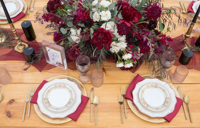 A rustic styled shoot celebrating romance at Willow Pond with a maroon and plum palette by Brilliant Captures and Married by Medicine