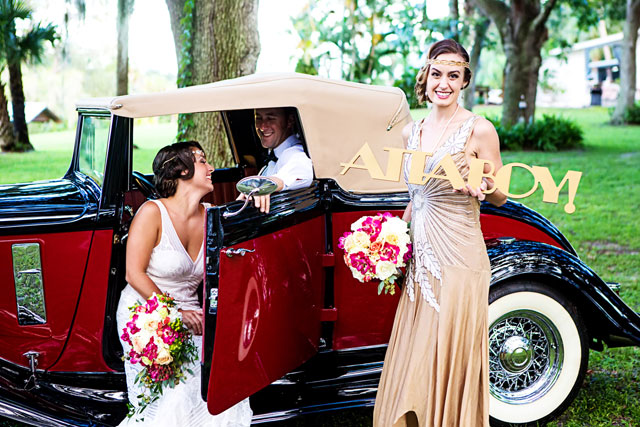 A glamorous Great Gatsby art deco wedding inspiration shoot with bold colors // photo by Caroline Nicole Photography: http://www.carolinenicolephotography.com    see more on https://blog.nearlynewlywed.com