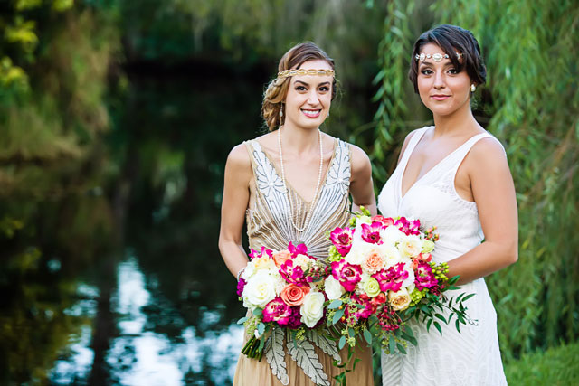 A glamorous Great Gatsby art deco wedding inspiration shoot with bold colors // photo by Caroline Nicole Photography: http://www.carolinenicolephotography.com || see more on https://blog.nearlynewlywed.com