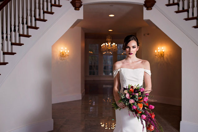 A marble and copper wedding inspiration shoot inspired by home design trends, featuring florals dripping in color, by Cat Lemus Photography & Cinema