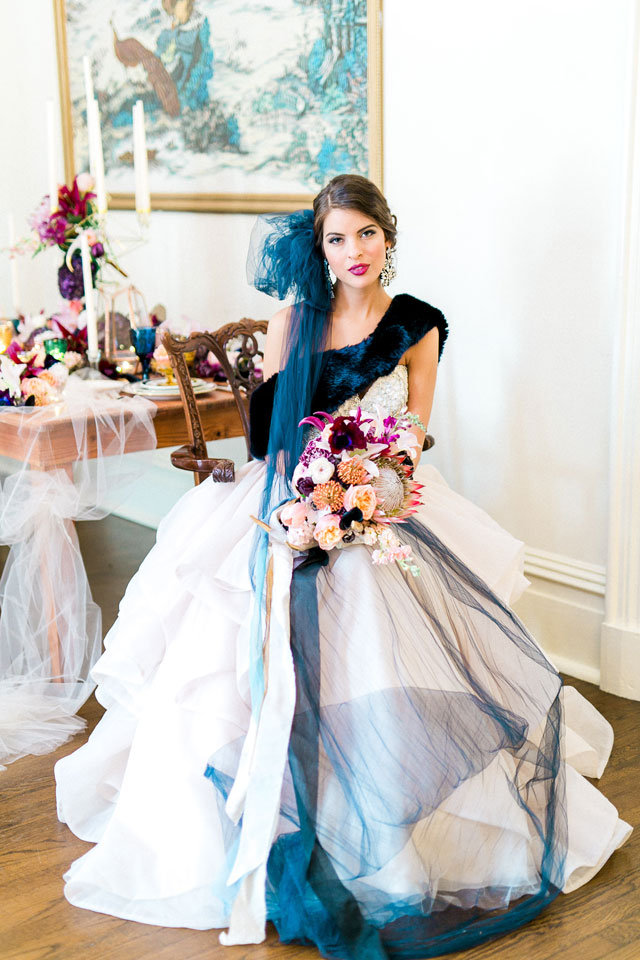 A midnight glam wedding styled shoot in historic Savannah by Catherine Ann Photography