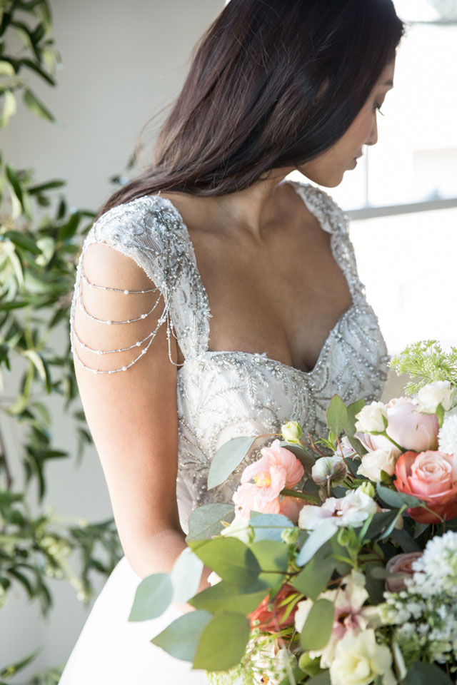A stunningly romantic powder blue styled shoot with ghost chairs, gorgeous calligraphy, luscious florals and the cutest bulldog ever by Christine Chang Photography and Skybox Event Productions