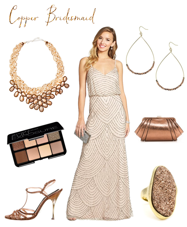 Copper and Taupe Bridesmaid Dress