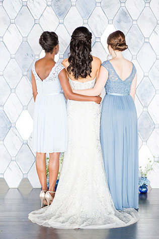 A stunning, monochromatic dreamy ice blue wedding inspiration shoot inspired by David Bridal's Fall 2017 collection, designed by Aisle Society and photographed by Cassi Claire