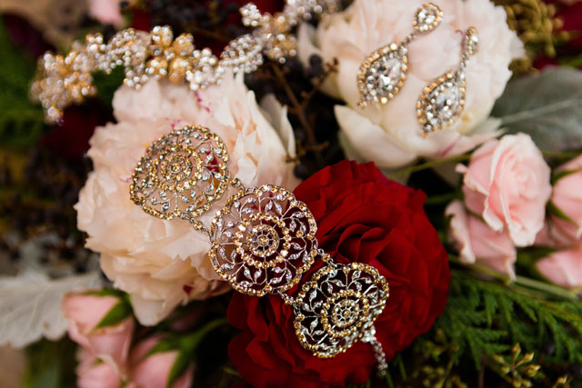 Rich gold and burgundy details abound in this lavish winter wedding inspiration shoot | Elena Bazini Photography: http://www.elenabaziniphotography.com