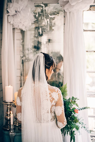 A tiny house styled wedding with a white color palette, antique furnishings and organic florals by Golden Girl Photo Life and Leigh and Mitchell