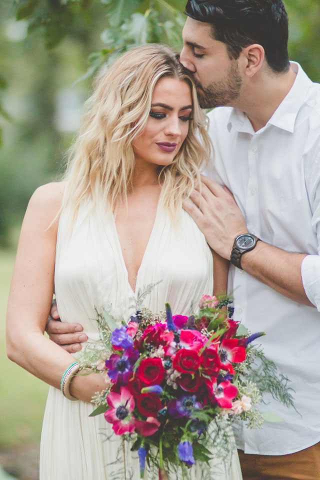 A romantic and boho chic pop-up wedding styled shoot with a VW Bus and a lounge area by Images by Amber Robinson and The Tiny Knot by Ashley Vause Events