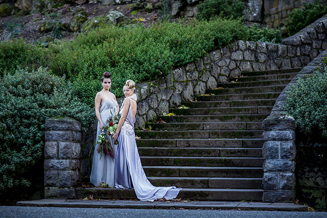 A moody yet elegant rebel wedding inspiration shoot in Portland with leather and a motorcycle by Jenna Saint Martin Photo and Bramble Floral Design