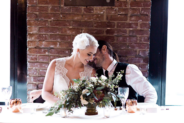 An industrial wedding inspiration shoot with copper and organic wood and floral details by Jessica Bradford Photography