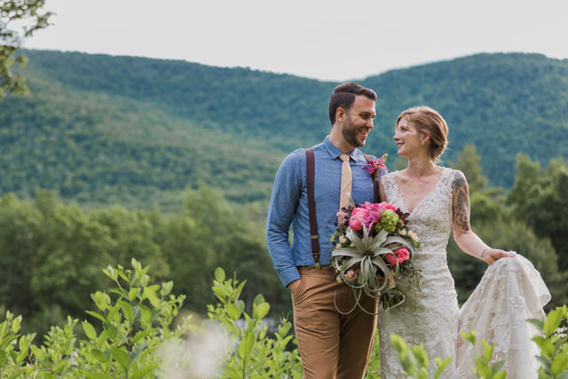 A colorful artist retreat wedding styled shoot in the Catskills by Kamp Weddings