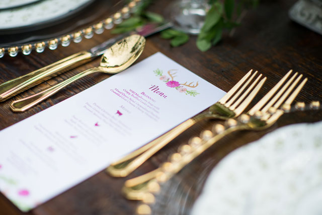 A whimsical garden wedding inspiration shoot with berry colors and golden animals | Kate Morrow Photography: http://www.katemorrowphotography.com | JS Weddings & Events: http://jsevents.com