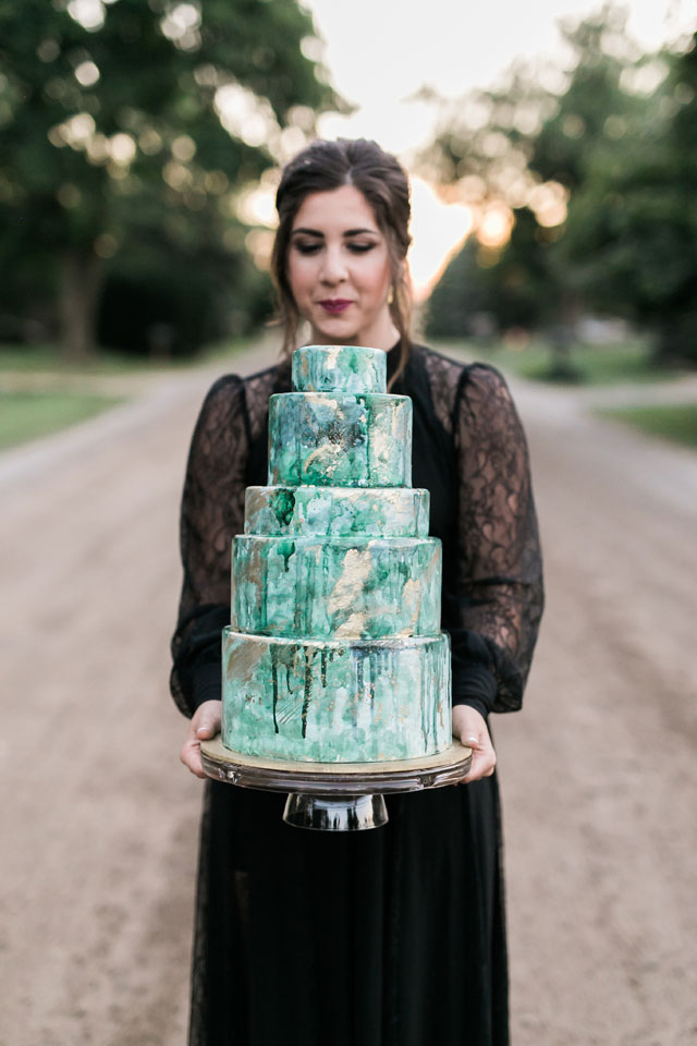 A chic and moody dark romance wedding inspiration shoot with a nontraditional black wedding dress by Kerby Lou Photography and Curtsy & Bow Events