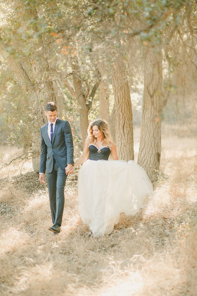 A dreamy wedding styled shoot featuring a tulle skirt paired with a black lace bustier | Kristen Booth: http://www.kristenbooth.net