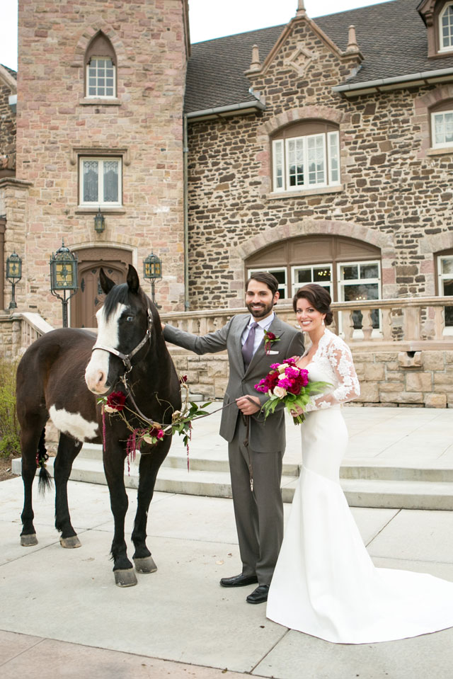 A romantic and elegant equestrian wedding inspiration shoot at Highlands Ranch Mansion with gold accents and pops of fuchsia by Kristina Lynn Photography & Design