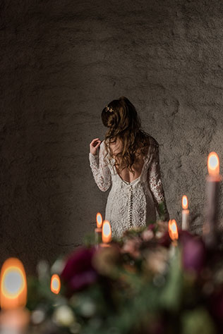 A moody and dark winter wedding inspiration shoot in Ottawa by Lace & Luce Photography and Partner Weddings & Events