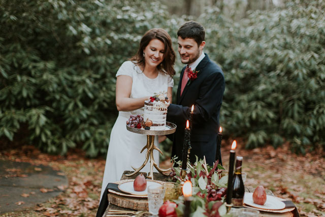 A woodsy late winter harvest styled shoot inspired by local fruits and vegetables and a jewel-toned palette by Lauren Elsasser Photography