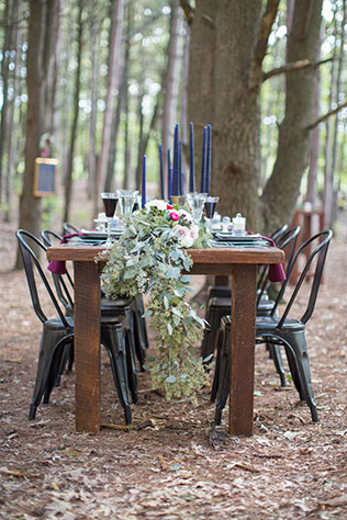 A wooded wedding inspiration shoot in Michigan with a bold yet classic palette of navy blue and rich merlot by Lisa Hammond Photography