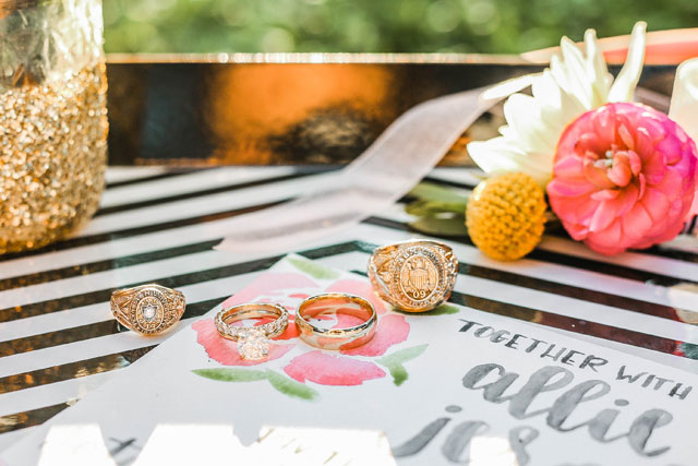 Black and white stripes, gold glitter and pops of bold color are all the makings of a whimsical Kate Spade inspired styled shoot by Lyndsay Lyon Photography