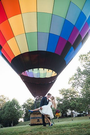 A whimsical and colorful hot air balloon styled shoot with candy and geometric details by M Harris Studios