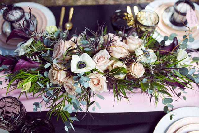 An elegant and sophisticated blush and black garden affair styled shoot by Marcus Anthony Photography and Fairytale Pursuits