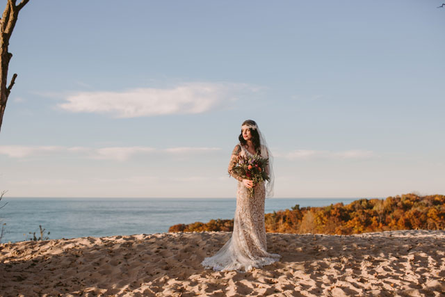 A styled bohemian elopement on the dunes at sunset by Megan Saul and Mignonette Bridal