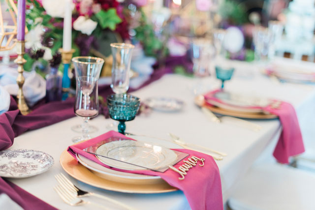 A modern jewel tone wedding inspiration shoot at an historical venue in Amherst with geometric and ombre details by Melanie Zacek Photography and Parsimony Inspired