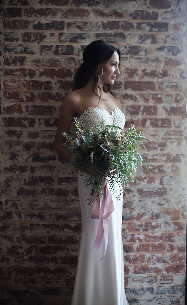 A moody and artistic wedding inspiration shoot at a restored gym and art gallery by Melissa Xenakis Photography