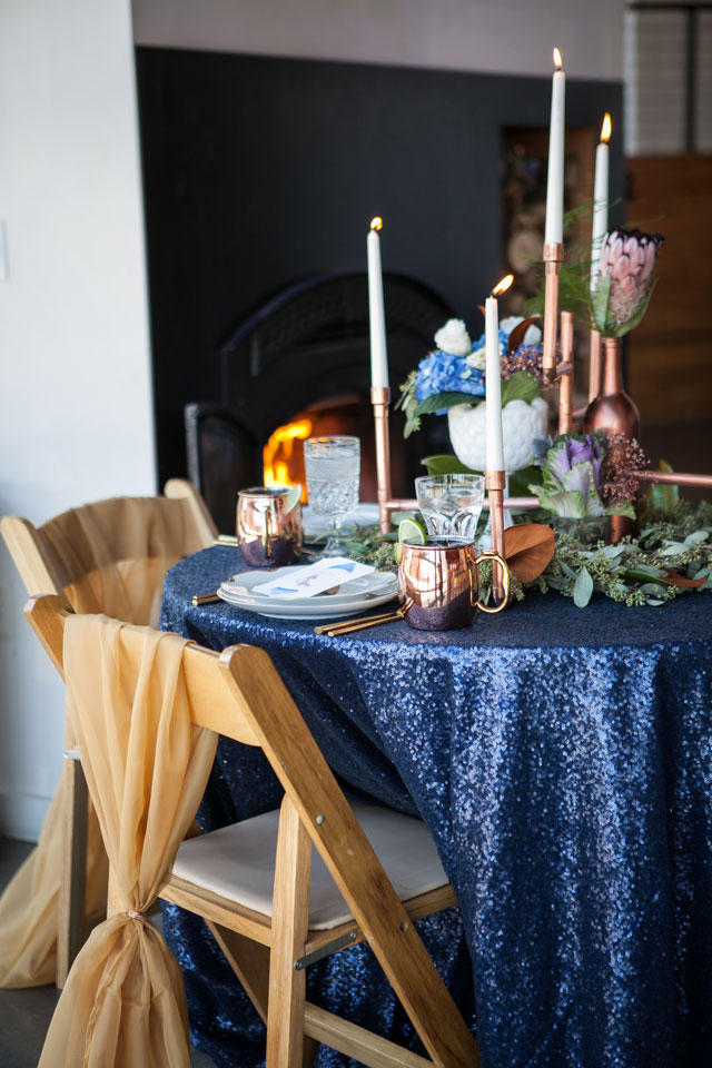 An inspired palette of copper and dusty blues set at the River Market Event Place | Morgan Miller Photography: http://www.morganmiller.photography