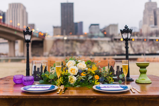 A LaLa Land wedding inspired shoot featuring two dancers and a creative urban tablescape by MW Photography