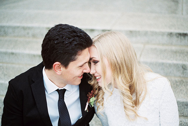 A lovely wedding styled shoot on film featuring a marble and rose theme by Mylyn Wood Photography