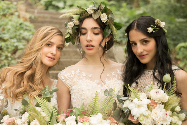 Inspired by the magical world created by Shakespeare, this NYC Midsummer Night's Dream styled shoot by RJ Imagery features romantic bridal looks for a contemporary outdoor affair