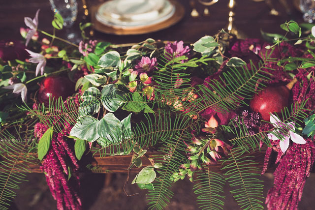 A jewel-toned Grimms' Fairy Tale styled shoot in the woods with an adoptable bunny by sara smile photography