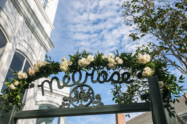 A Paris meets New Orleans wedding inspiration shoot in a glam palette of black and gold by Sarah Becker Photography