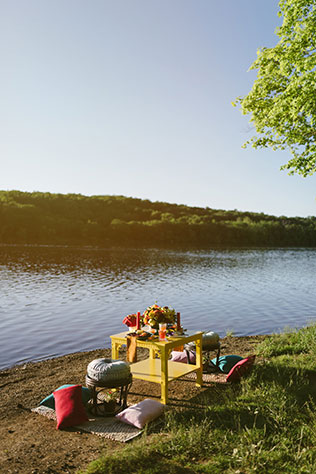 A 1960s picnic elopement styled shoot on Lake Galena inspired by the Point of Tranquility by Shunkwiler Photo and Julie D'Agostino Designs