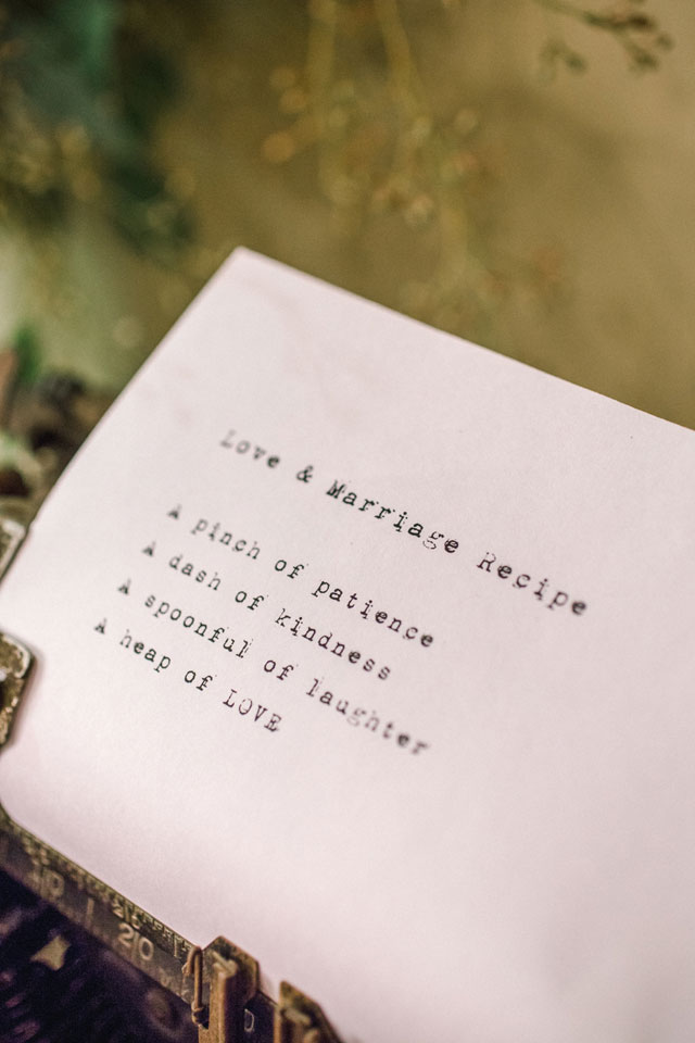 A charmingly sweet wedding styled shoot with a recipe for love theme | Stephen Thrift Photography: http://www.stephenthriftphoto.com | Knots 'N Such Event Planning & Design: http://www.knotsandsuch.com